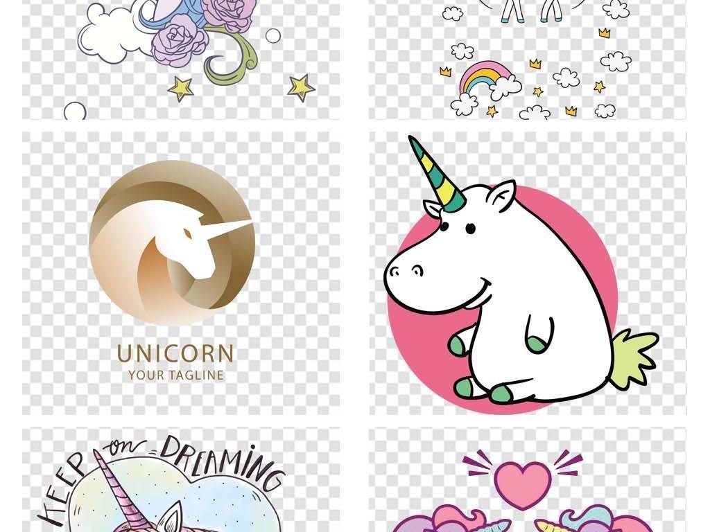 卡通可爱独角兽png白马动物插画素材海报