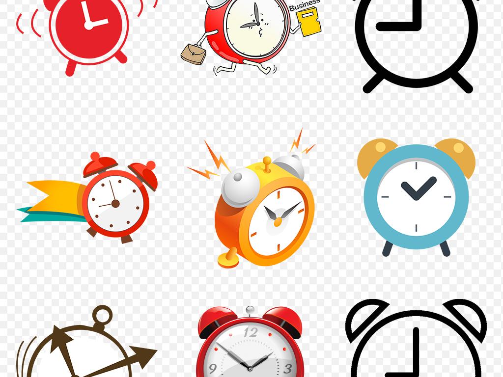 手绘欧式卡通闹钟时间海报素材背景图片png