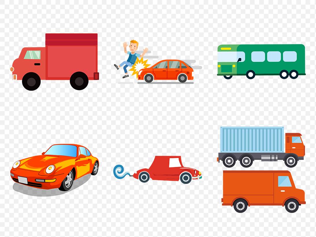 炫酷剪影货车快递物流背景环保卡通车司机小卡通车仔模型红色素材可爱