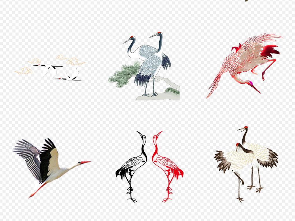 白描图白鹤剪影                                          丹顶鹤鸟