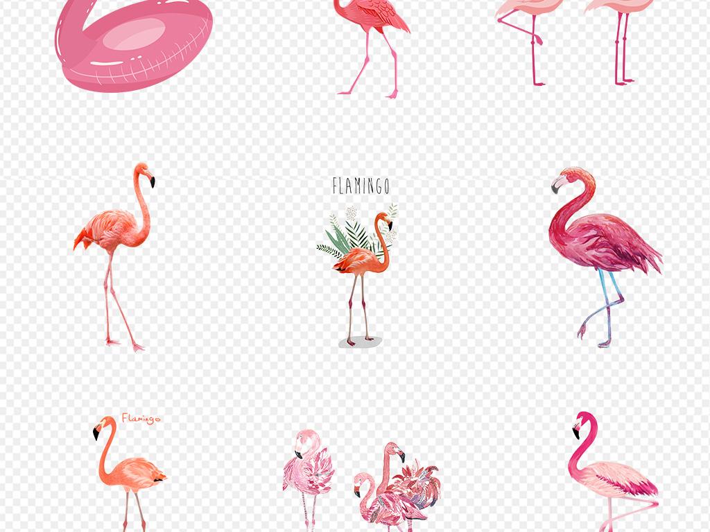 清新手绘粉色可爱火烈鸟卡通动物png素材