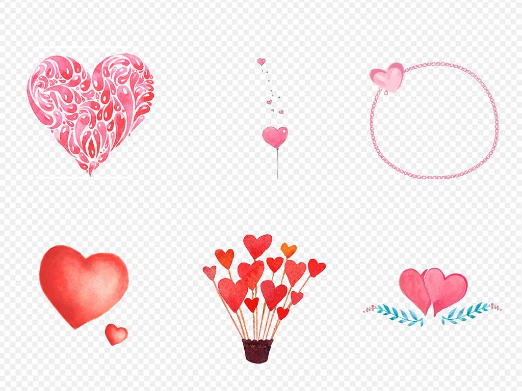 手绘水彩爱心心形心动海报素材png背景图片