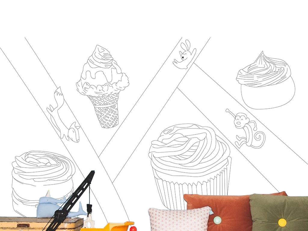 卡通水彩手绘冰激凌动物蛋糕儿童房背景墙