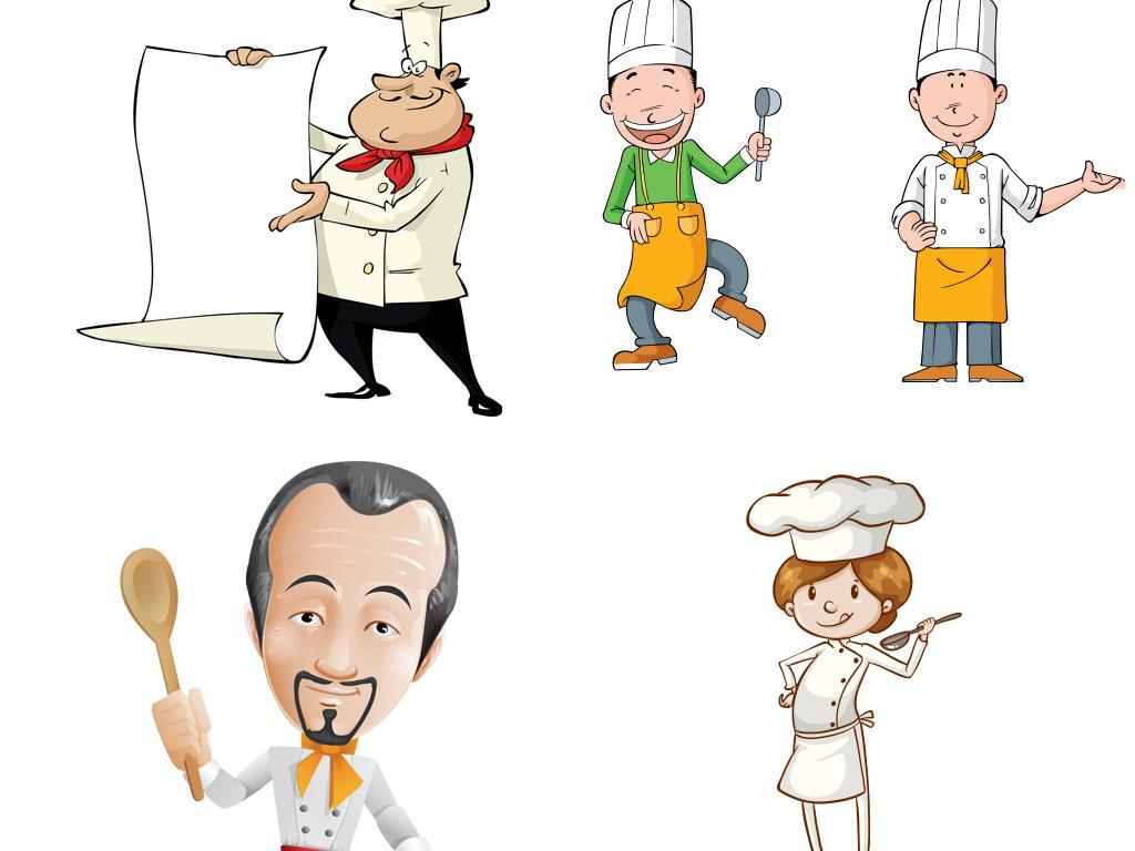 厨师炒菜卡通图厨师名片可爱卡通小