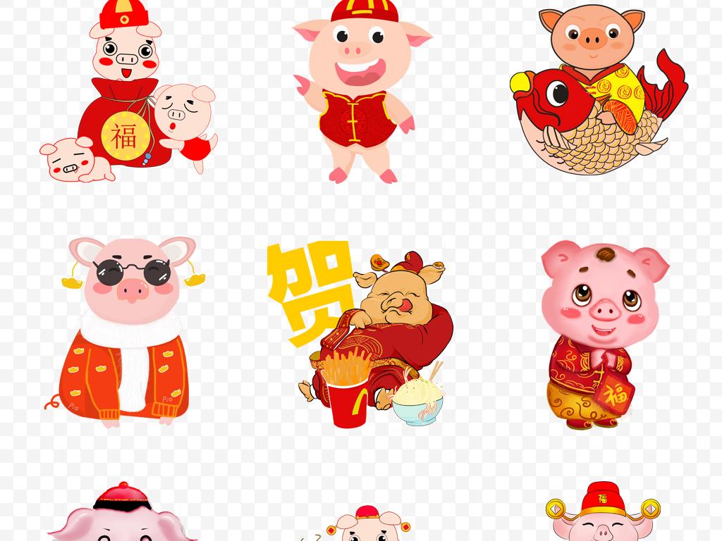 卡通小猪                                          猪年2019手绘猪