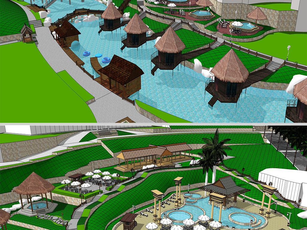 现代度假村旅游景观温泉会所景观规划设计