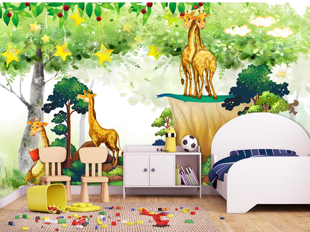 动物王国森林王国卡通儿童房小孩房装饰画