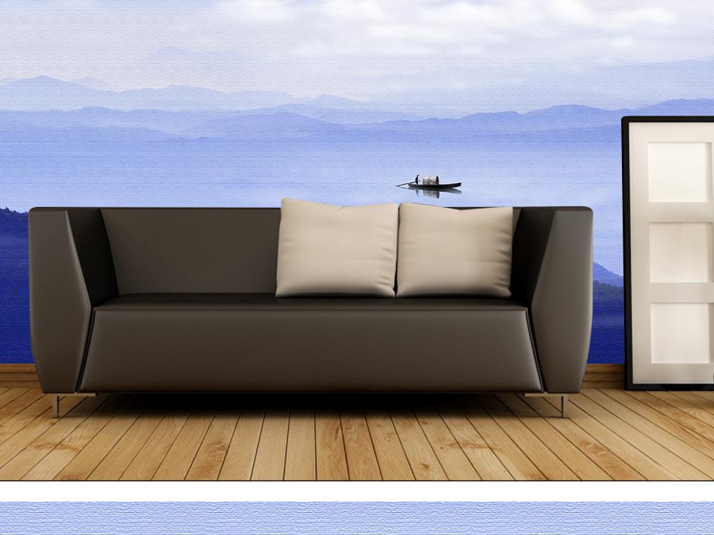 中式电视背景墙 > 新中式意境水墨山水风景背景墙客厅沙发墙画  素材