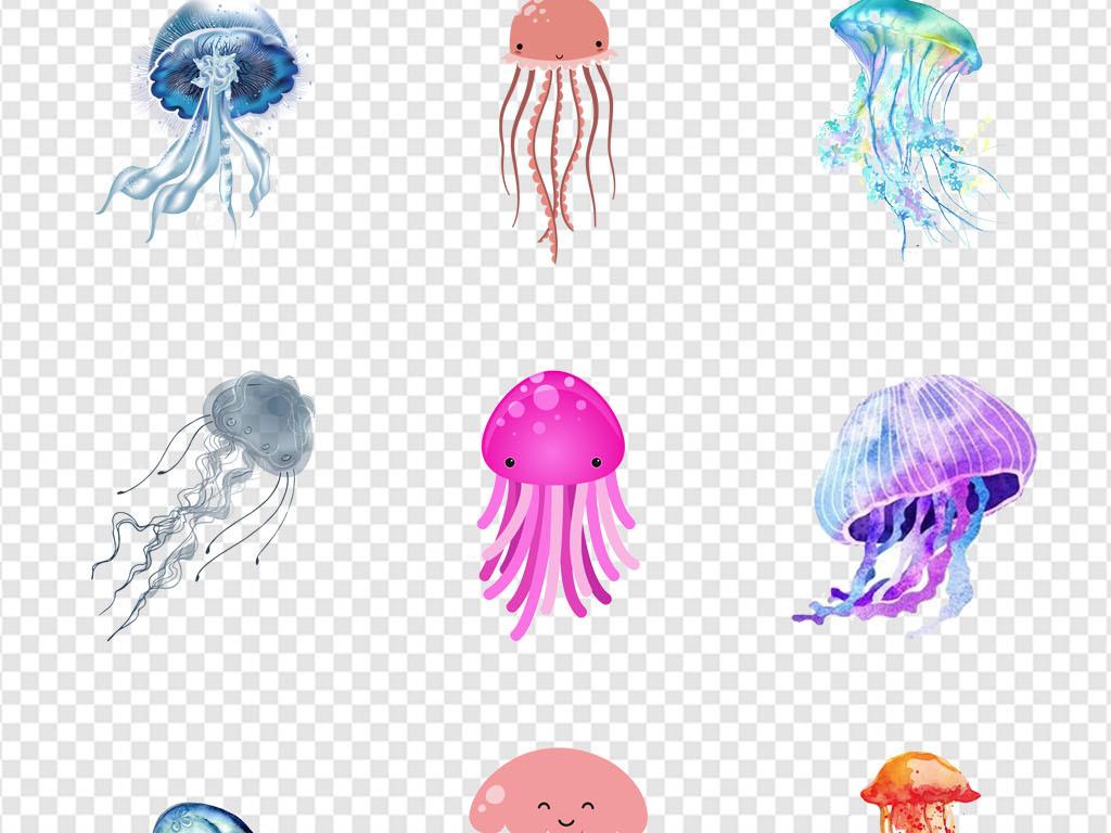 卡通唯美背景卡通动物素材水母图片海洋世界海底世界可爱豹水母头像