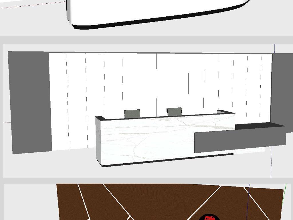 新中式前台接待台办公前台模型新中式吧台现代前台模型logo墙背景图片