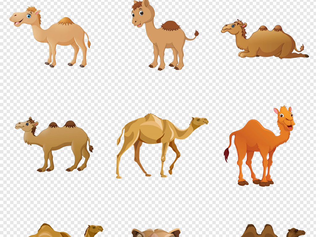 原创卡通手绘动物沙漠驼峰黄色骆驼png素材