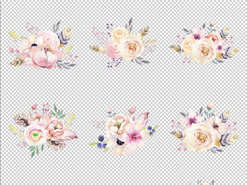 手绘水彩花朵骷髅贴纸图案背景海报边框png免抠透明设计素材