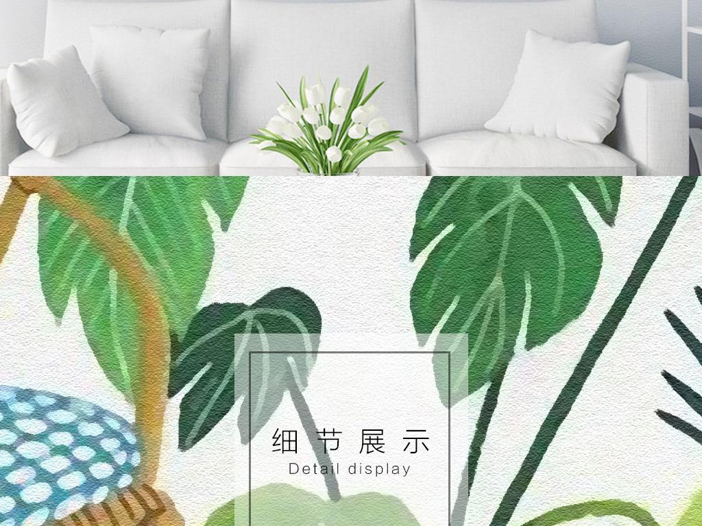 手绘植物人物小清新ins风格客厅装饰画