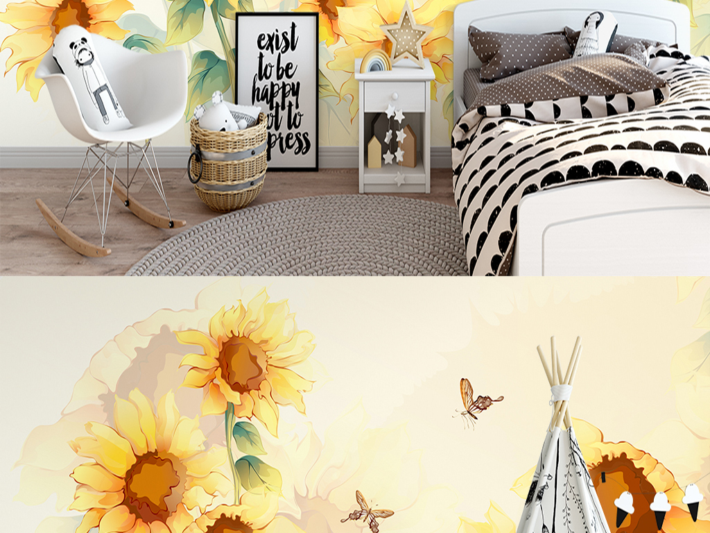 北欧ing手绘向日葵室内沙发电视背景墙