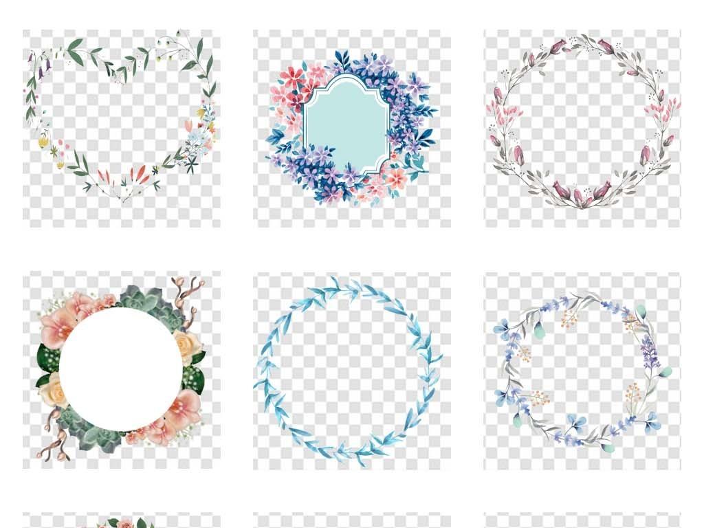 唯美手绘小清新圆形花环边框png素材