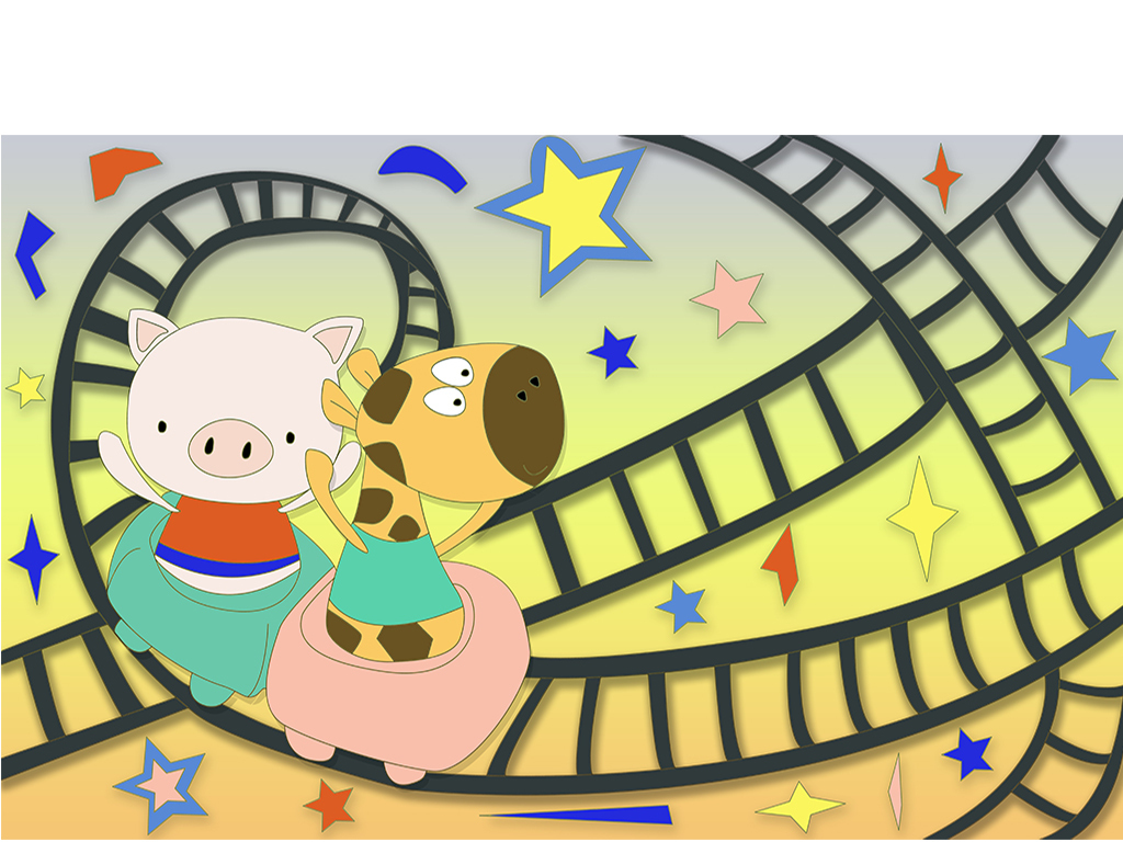 卡通手绘儿童乐园过山车小猪长颈鹿背景墙