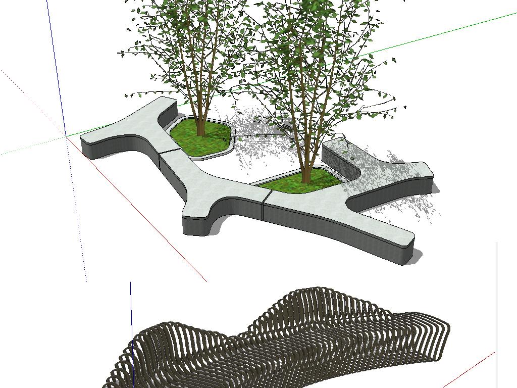 草图大师公园户外景观创意坐凳su模型设计图下载(图片