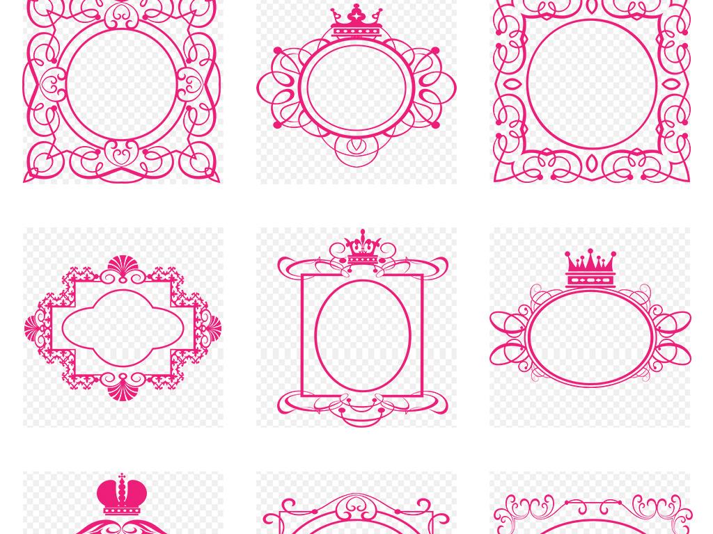 欧式复古典线条花纹花边框婚礼婚庆皇冠相框商标志logo装饰png素材