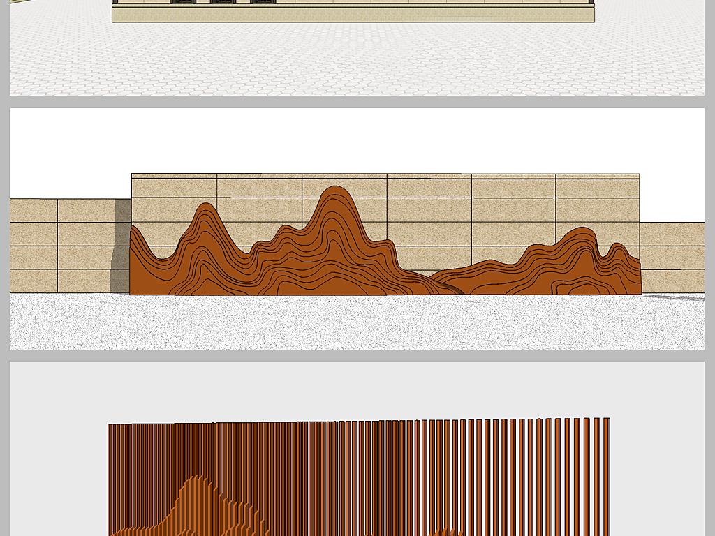 新中式山水景墙su模型设计图下载(图片207.18mb)_建筑