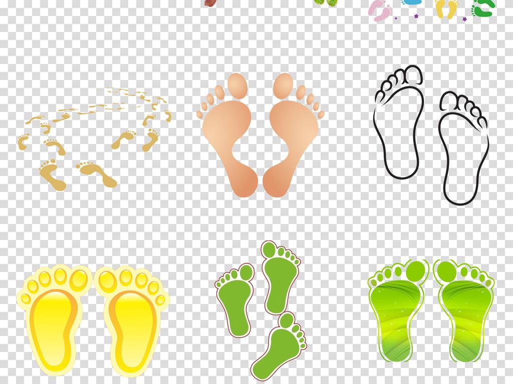 卡通儿童宝宝脚印手绘脚丫海报背景png素材