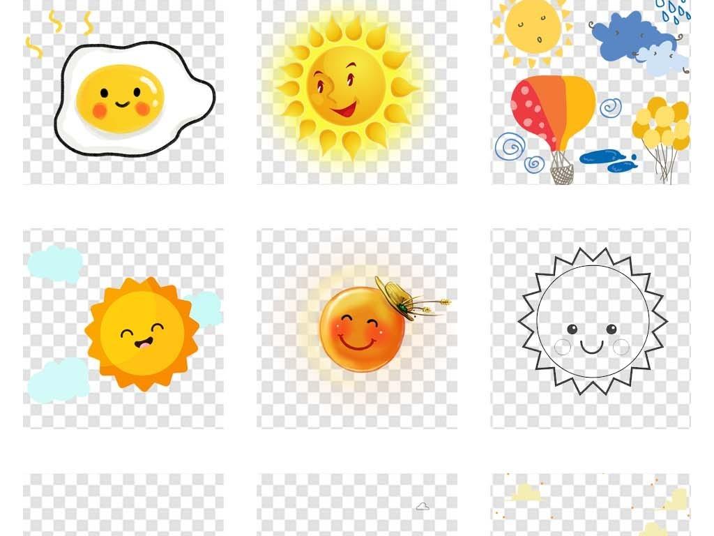 幼儿园风格可爱卡通手绘太阳海报png素材