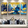 意境晶瓷山水抽象月亮麋鹿金鱼组合装饰画