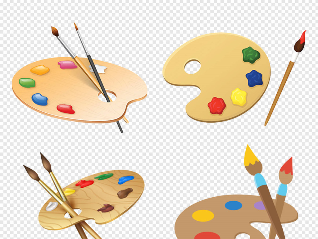 免抠元素 生活工作 居家物品 > 卡通手绘美术培训兴趣班调色盘调色板