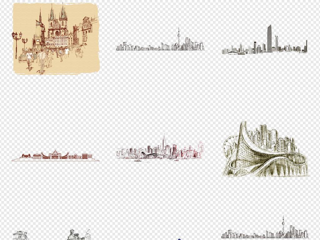 线条建筑素描城市手绘水彩建筑欧式城堡手绘城市建筑手绘房子城市都市