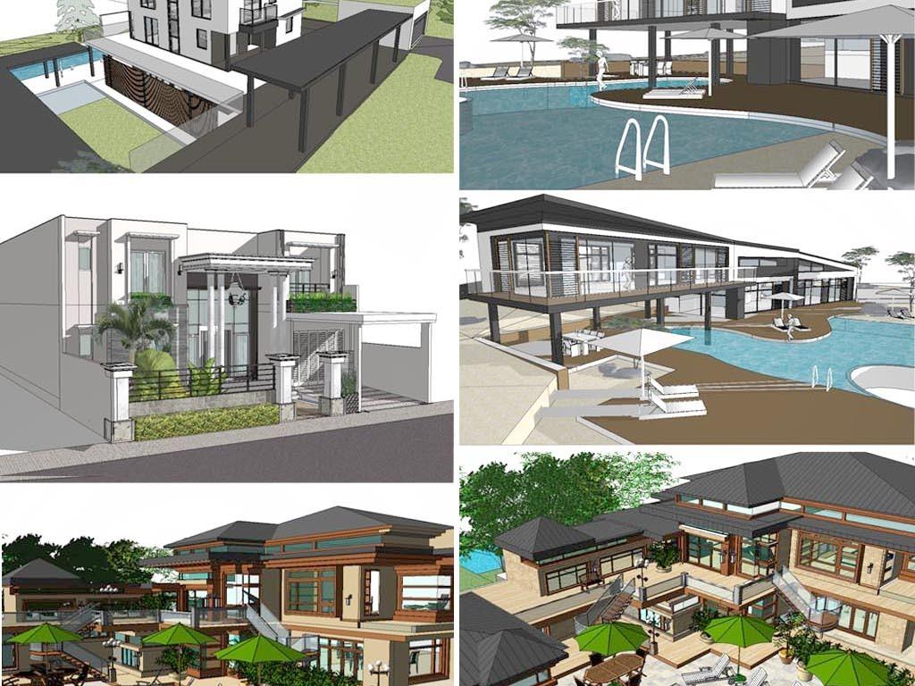 别墅建筑设计模型图下载(图片80.97mb)_建筑模型库_su图片