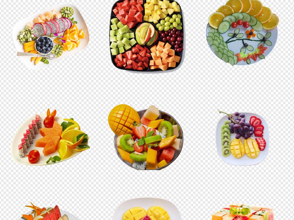 水果拼盘创意新鲜水果篮蔬菜手绘水果海报背景png图片