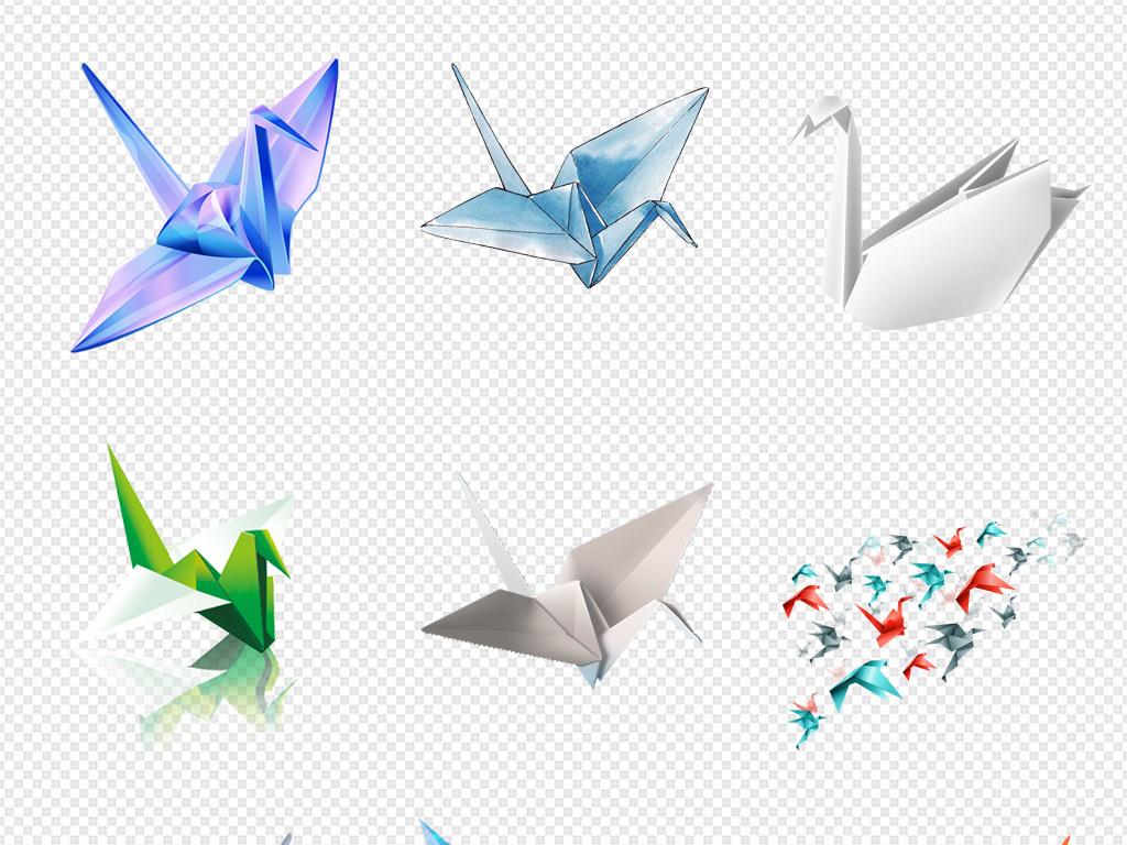 梦想素材手绘千纸鹤装饰