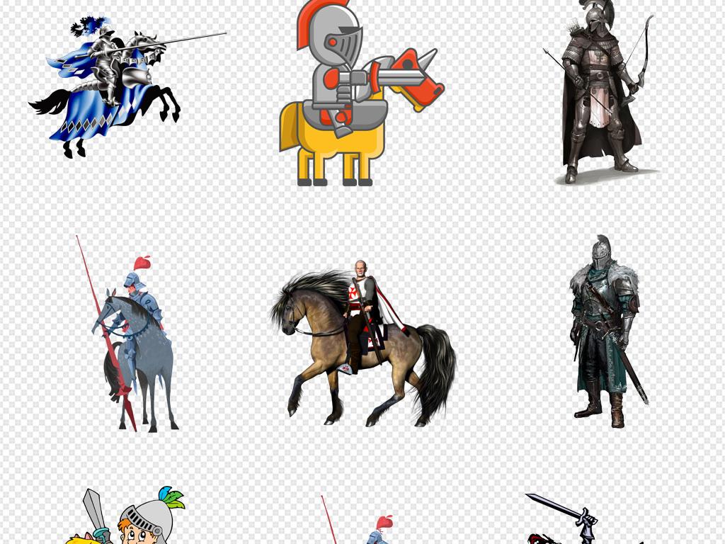 欧美中世纪风格骑士卡通人物设计