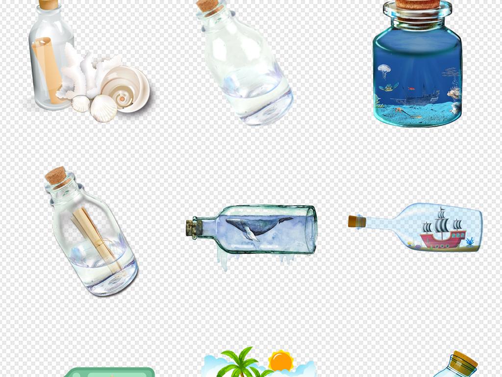 许愿树卡通漂流瓶手绘漂流瓶