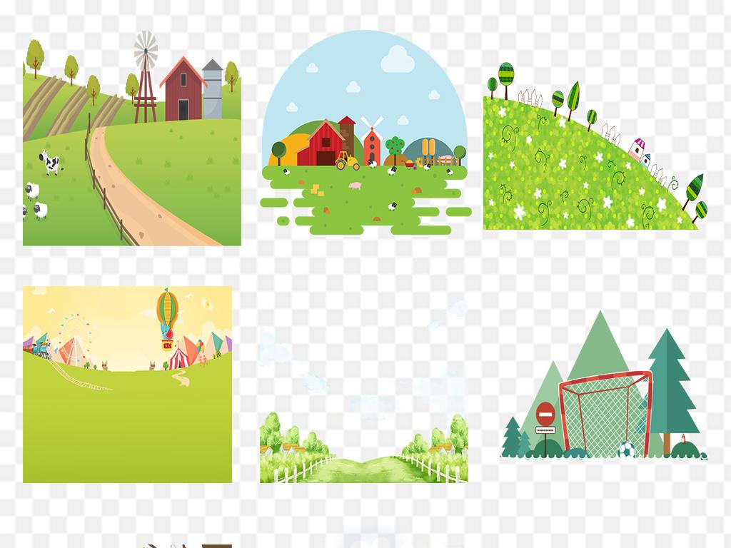 > 绿色卡通草地草坪小草树木唯美风景素材  素材图片参数: 软件 : 无图片