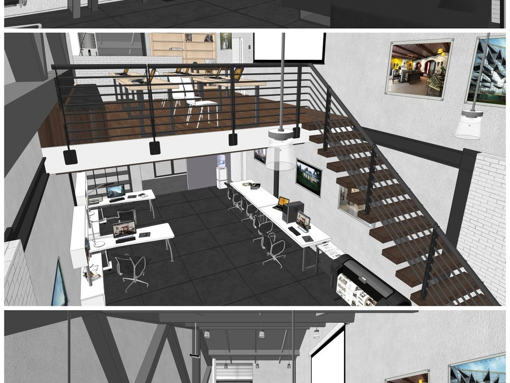 loft工作室su模型设计图下载(图片137.16mb)_办公空间