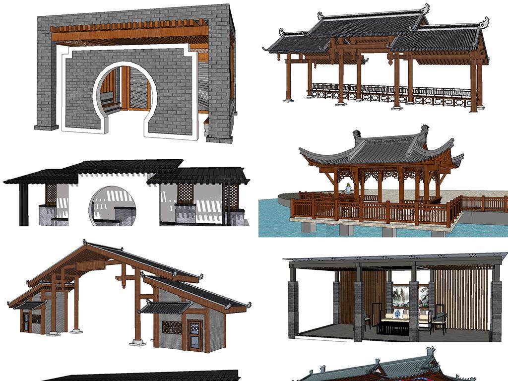 新款中式古建民宅大门庭院亭子廊架su模型