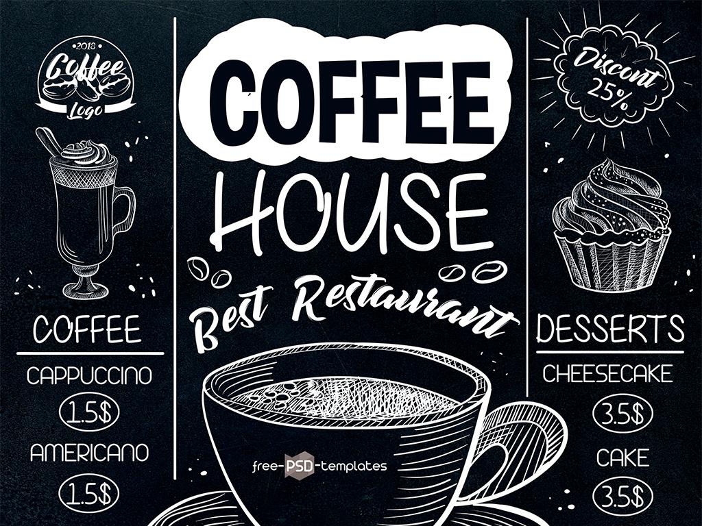 海报设计 招聘|多用途海报 餐饮海报 > 黑板粉笔手绘咖啡菜单海报psd图片