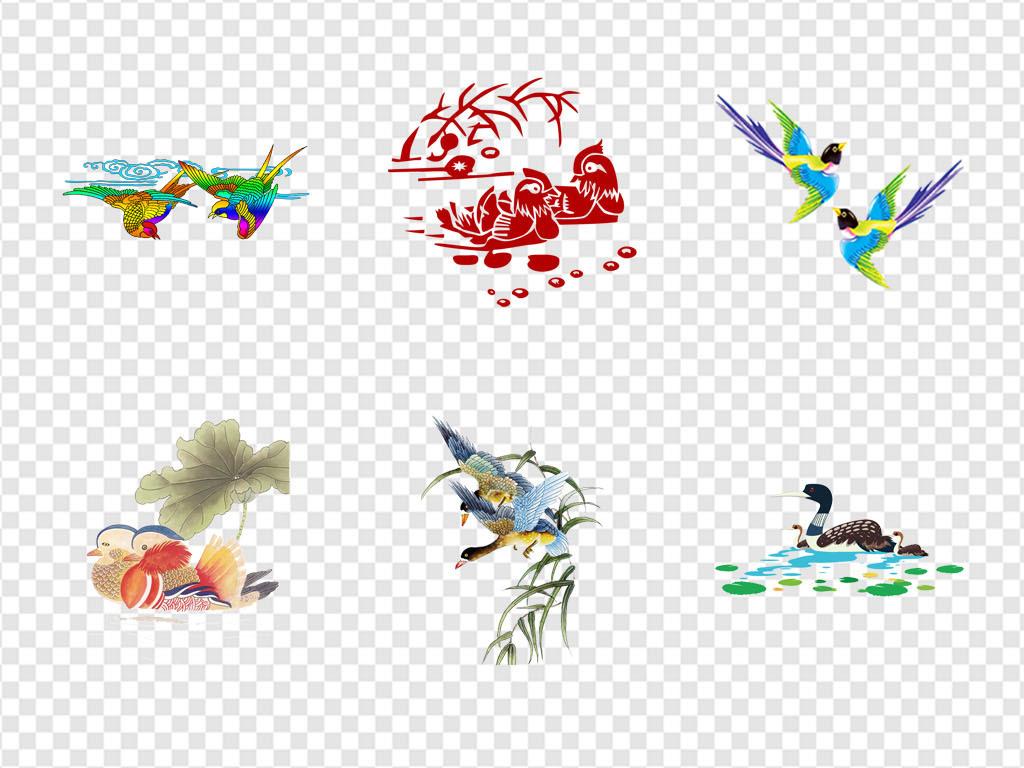 手绘素材卡通素材卡通彩绘传统卡通彩绘素材象征经典爱情荷花嬉戏鸟