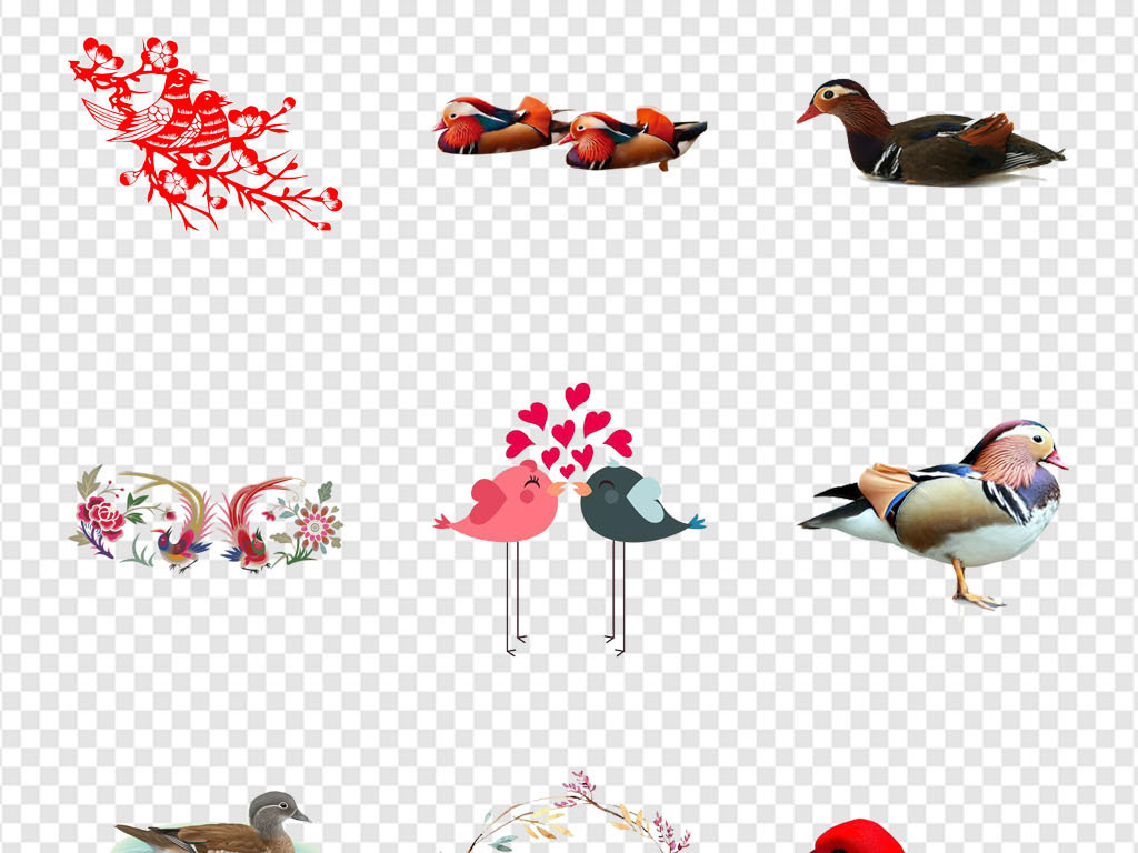 手绘素材卡通素材卡通彩绘传统卡通彩绘素材象征经典爱情荷花嬉戏鸟类