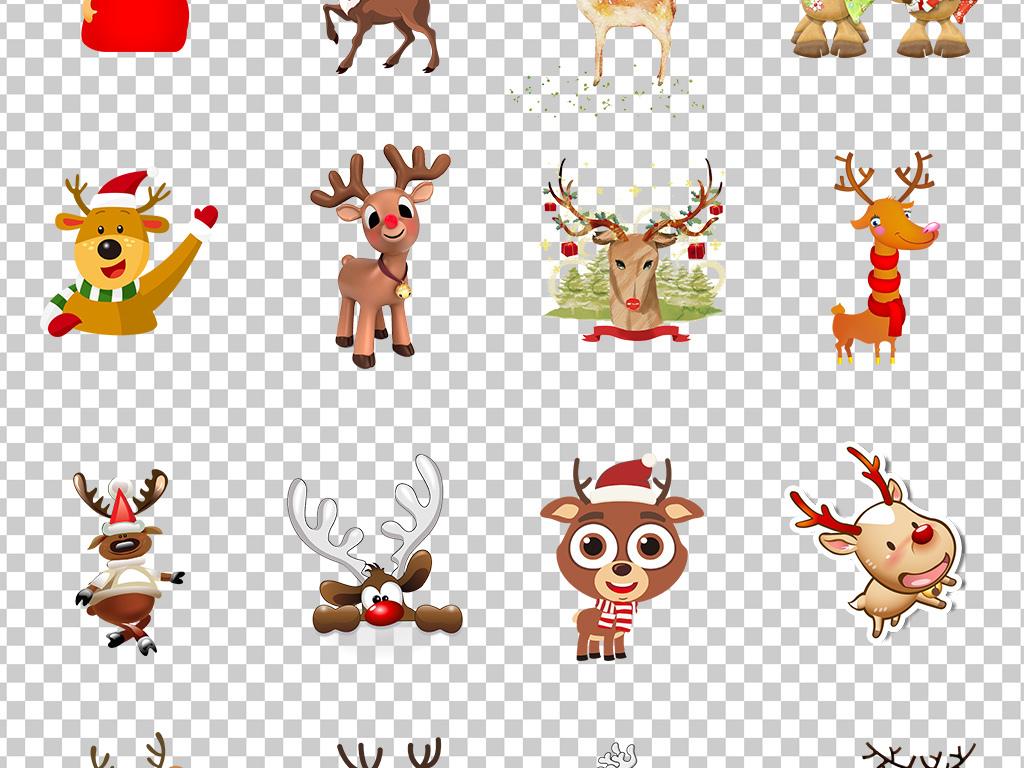 01318麋鹿小鹿卡通手绘可爱圣诞小鹿透明png素材免抠