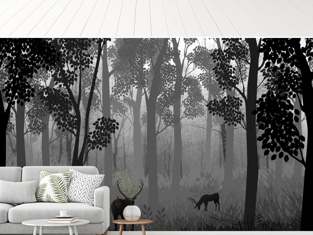 北欧暗黑系森林麋鹿风景电视背景墙