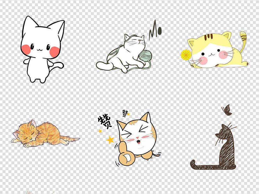 卡通手绘可爱小猫咪动物宠物海报png素材