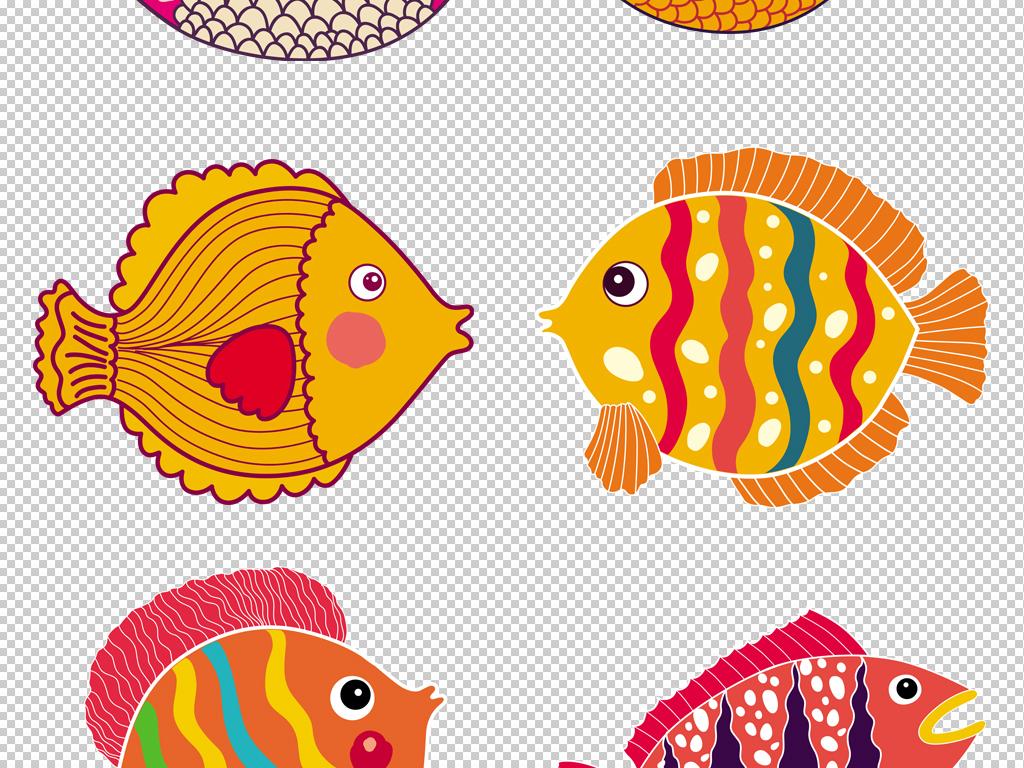 自然素材 动物 > 彩绘花纹插画海洋卡通可爱小鱼类png素材  素材图片