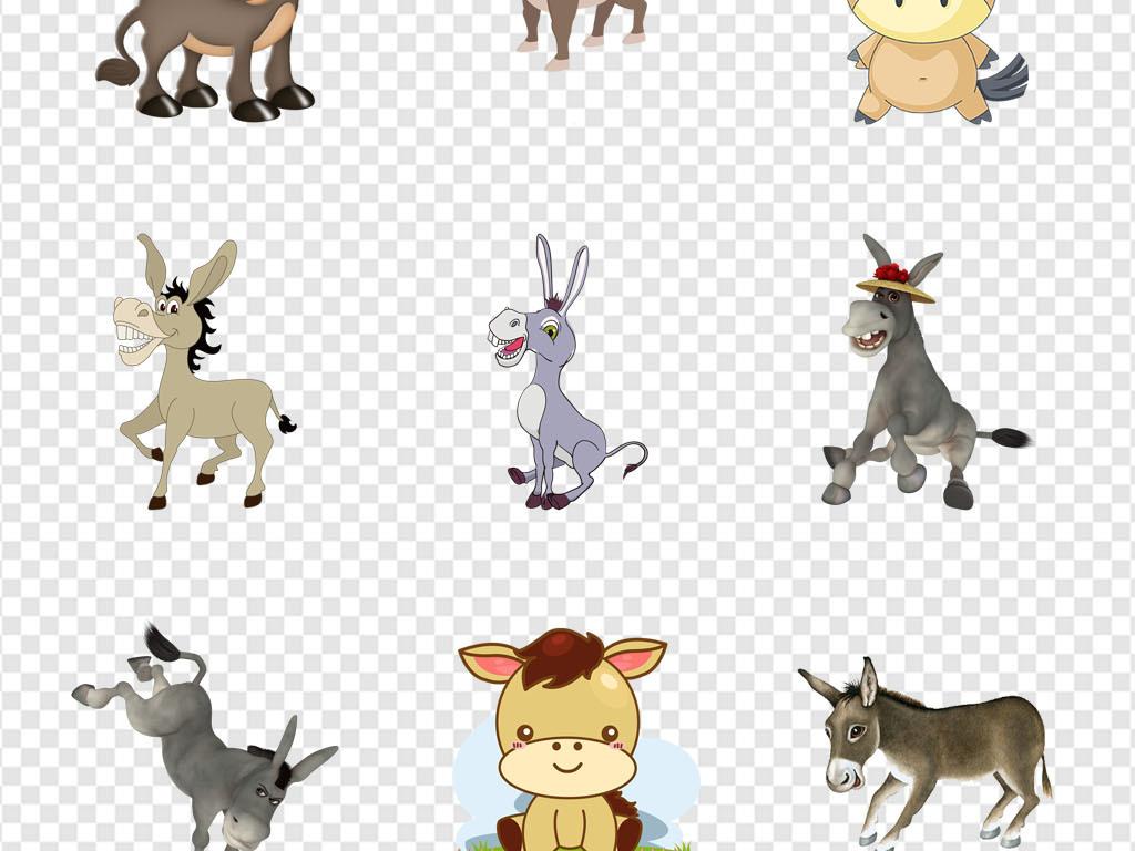 幼儿园贴纸卡通驴子毛驴可爱动物png素材