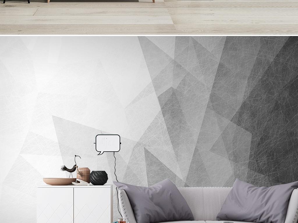 北欧抽象几何现代简约电视背景墙壁画图片设计素材_(.图片