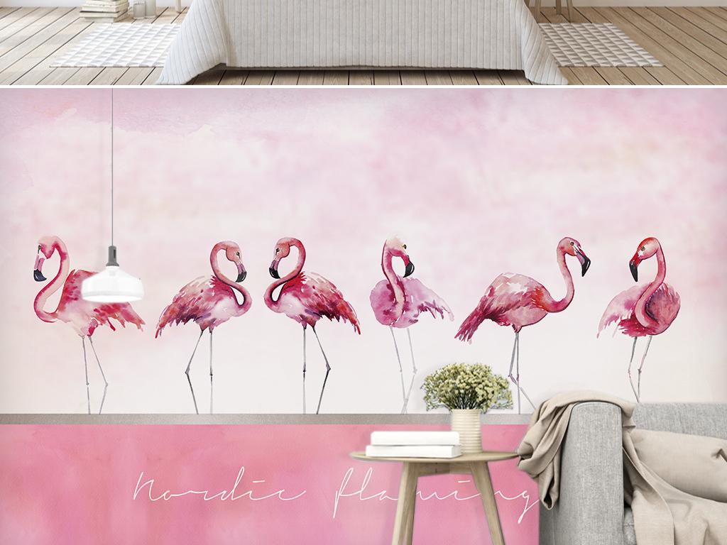 北欧ins风手绘粉色火烈鸟背景墙