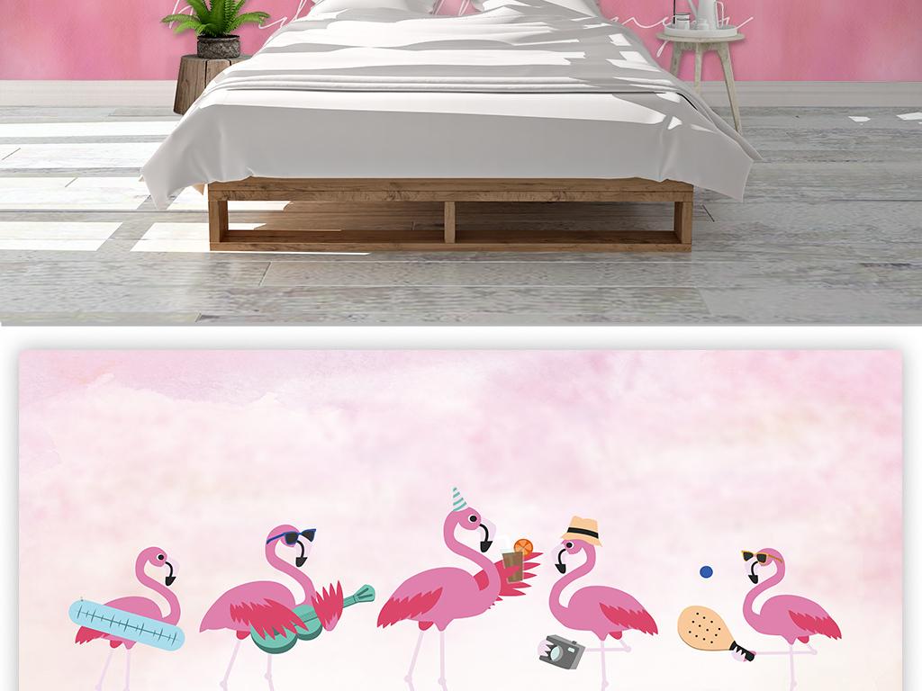 北欧ins风卡通粉色火烈鸟背景墙