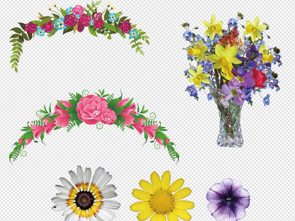 卡通手绘小花小草卡通花草植物边框背景花环