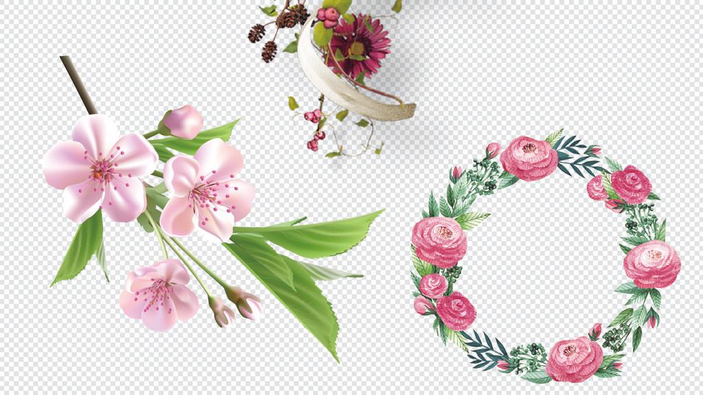 落叶卡通手绘小花小草花草植物边框背景花环