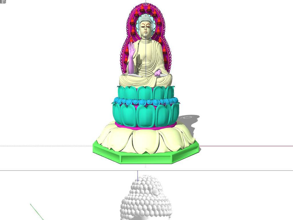 庭院公园毕业设计skp模型sketchup小品佛家雕塑观音观音菩萨佛像菩萨